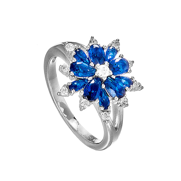 Snowflakes Shaped Ring with Blue Crystal in Sterling Silver