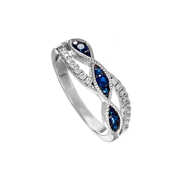 Desirable Weave Designed Ring with Blue Crystal in Sterling Silver