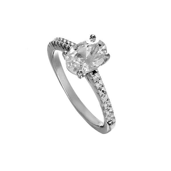 Oval Cut Engagement Ring with Clear Crystal in Sterling Silver