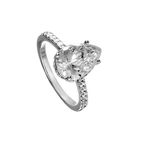 Pear Shaped Simple Engagement Ring with Crystal Crystal in Sterling Silver