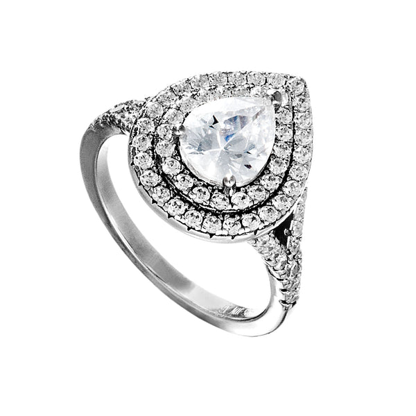 Pear Shaped Double Halo Engagement Ring with Clear Cystal in Sterling Silver