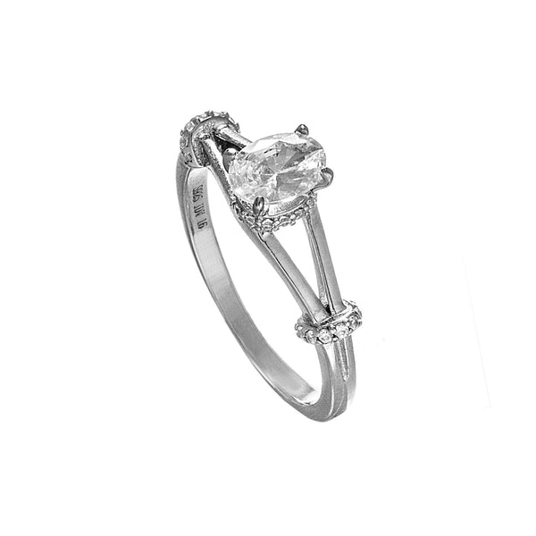 Oval Solitaire Engagement Ring with Clear Crystal in Sterling Silver