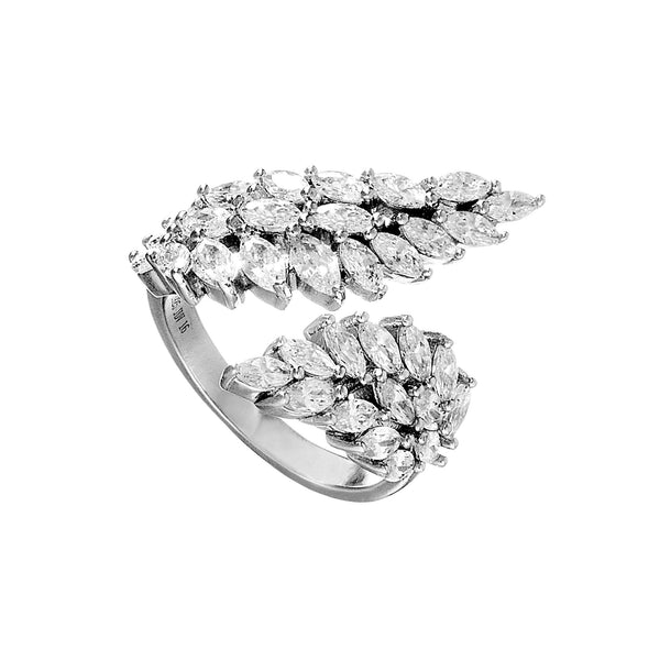 Elegant Angel Wings Designed Open Ring with Clear Crystal in Sterling Silver