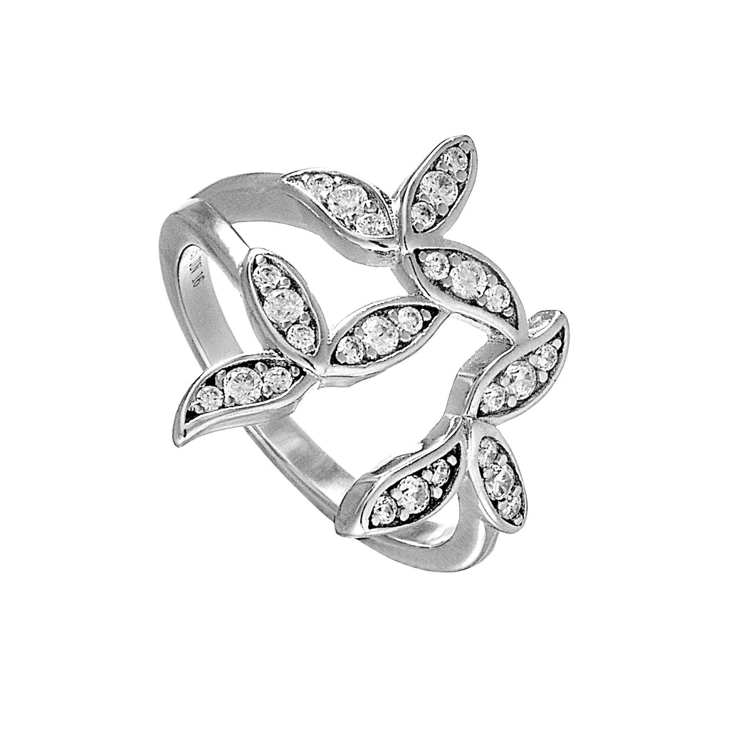 Nature Brunch Leaves Designed Ring with Clear Crystal in Sterling Silver
