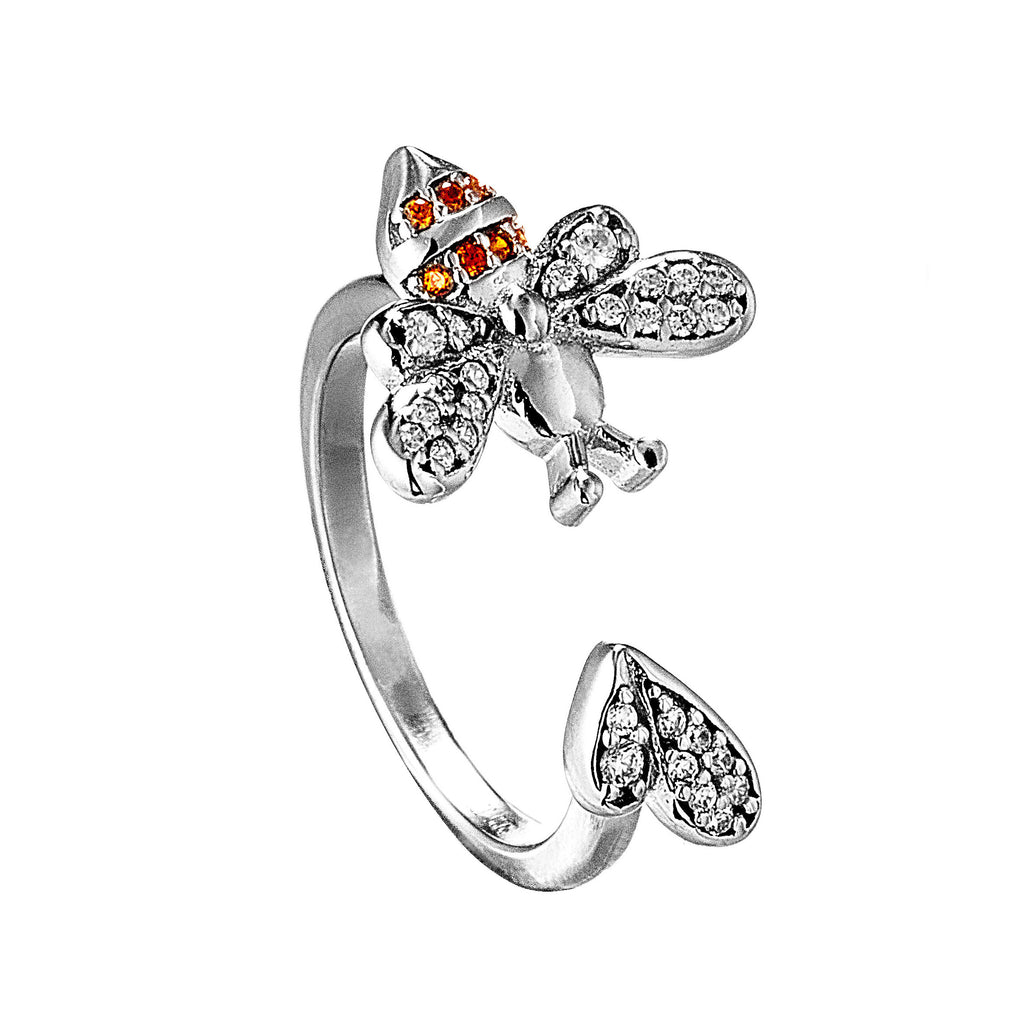 Champigne Rystal Bee & Heart ring in Sterling Silver