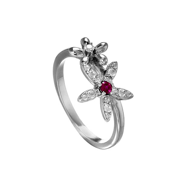 Cherry Flower Bloom Ring with Pink & Clear Crystal In Sterling Silver