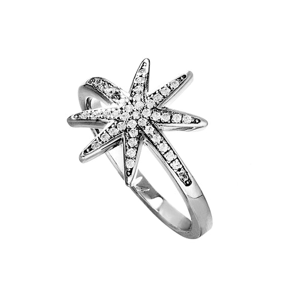 Eight-pointed Stackable Star ring with Clear Crystal in Sterling Silver