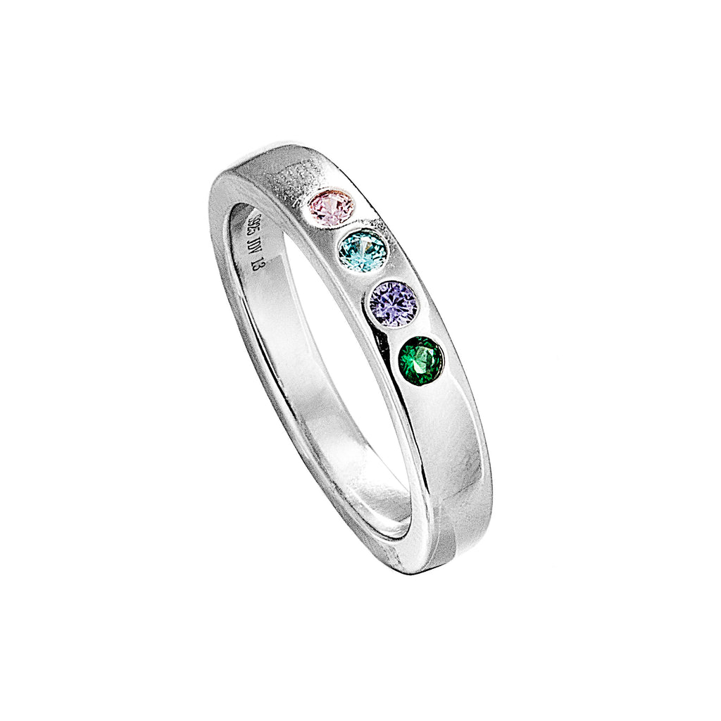 Multicolor Crystal Classical Ring with Pink, Blue, Purple & Green Crystal in Sterling Silver