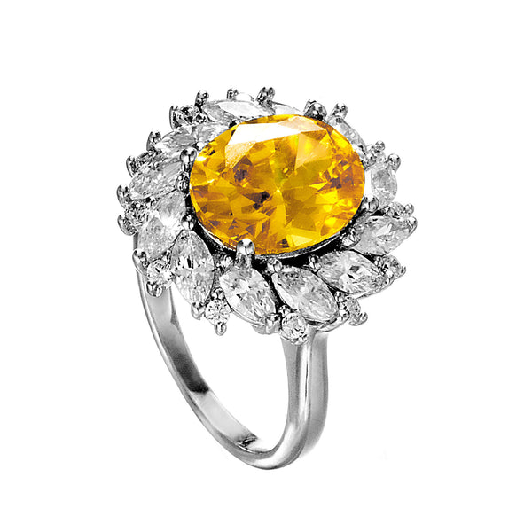 Elegant Sun Flower Shaped Ring with Yellow Crystal in Sterling Silver