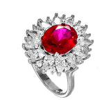 Elegant Sun Flower Shaped Ring with Ruby Red Crystal In Sterling Silver