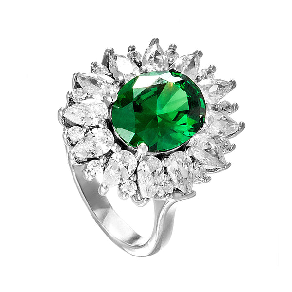 Elegant Sun Flower Shaped Ring with Green & Clear Crystal in Sterling Silver