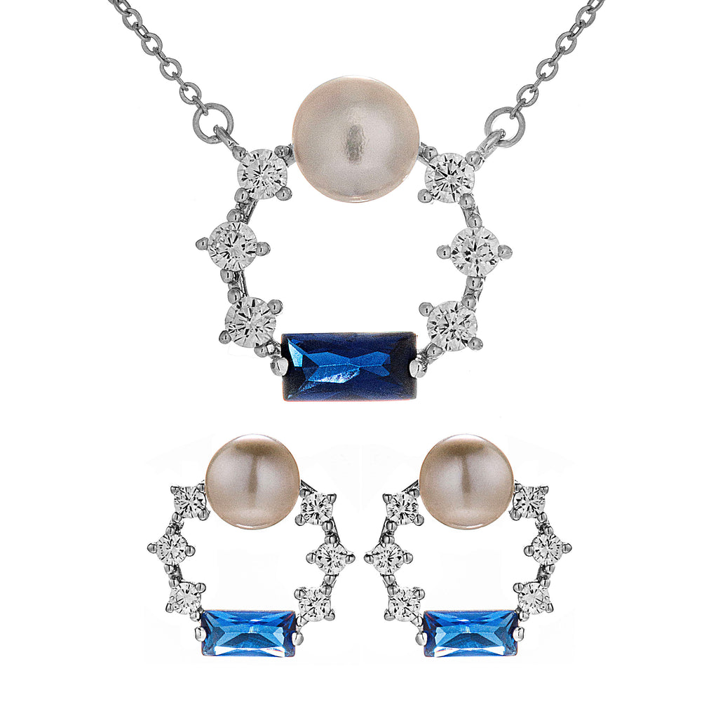 Galaxy Sparkling Circle Necklace & Stud Set with Blue & Clear Crystal, Mother of Pearl in Sterling Silver