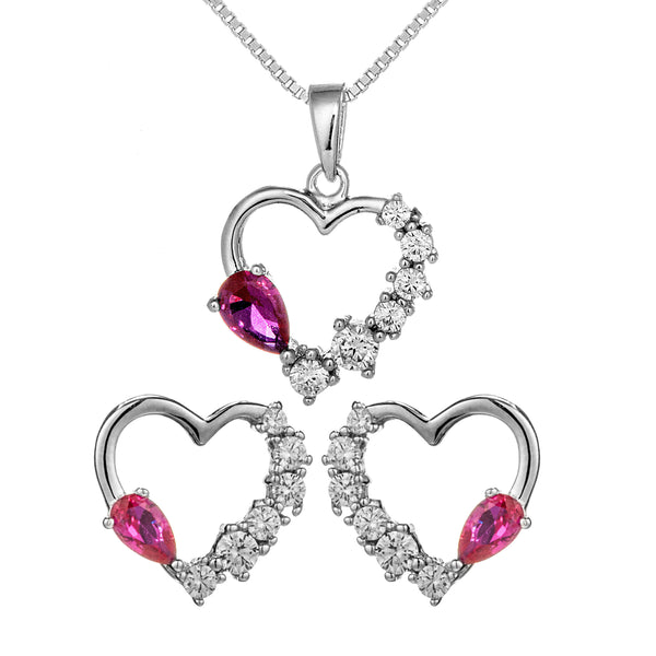 Love Heart Necklace & Earrings Set with Pink & Clear Crystal In Sterling Silver