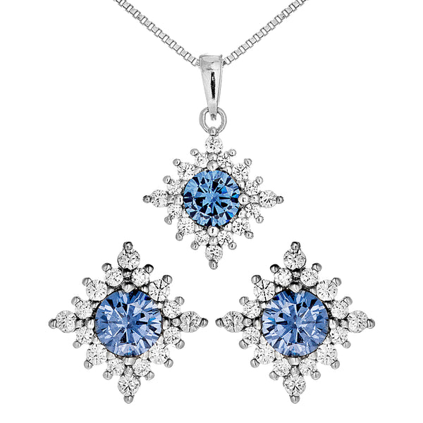 Classic Snowflake Pendant Necklace & Studs Set with Purple Crystal In Sterling Silver