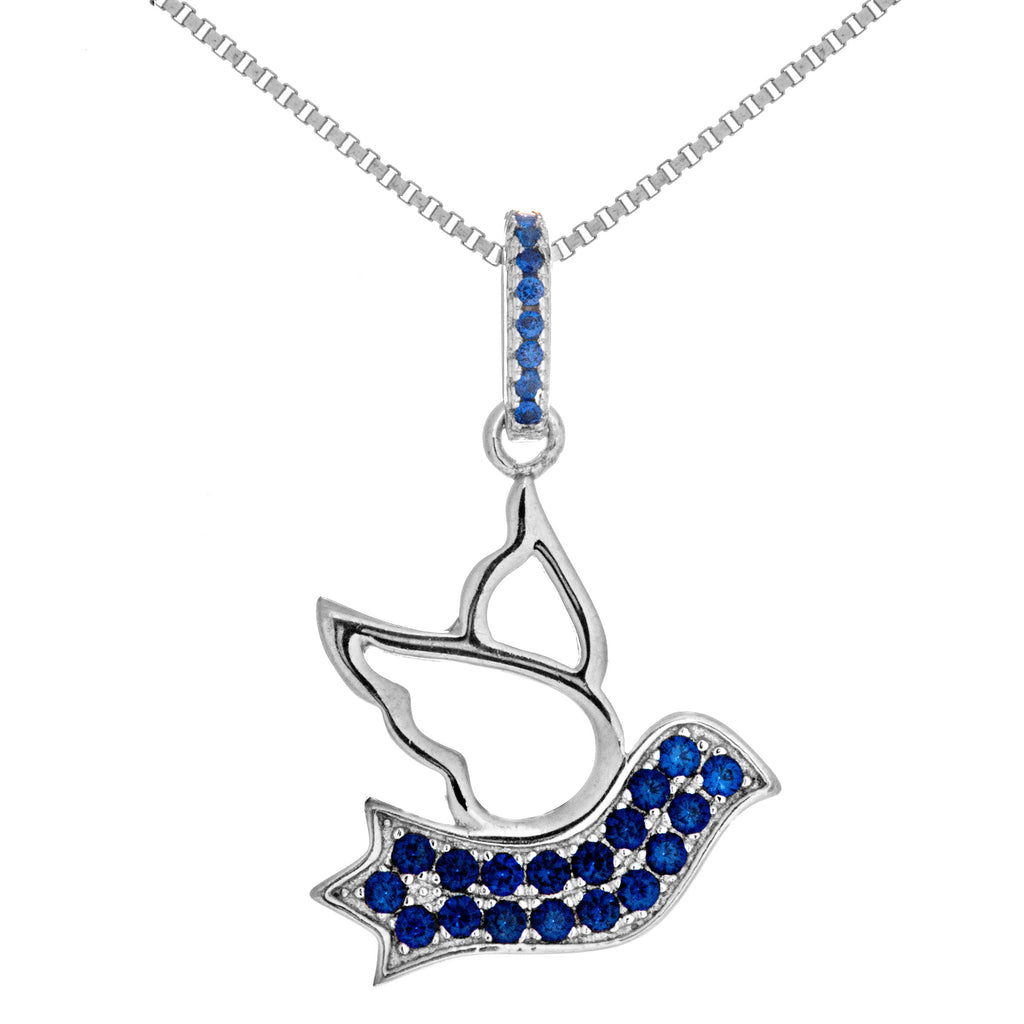 Lucy Birdie Pigeon Necklace with Navy Blue Crystal in Sterling Silver