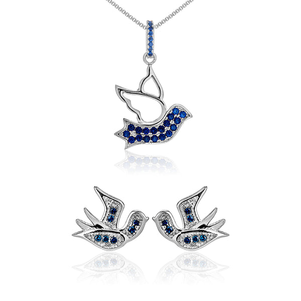 Delicate Swallow Bird Blue Stud Earrings & Necklace Set in Sterling Silver
