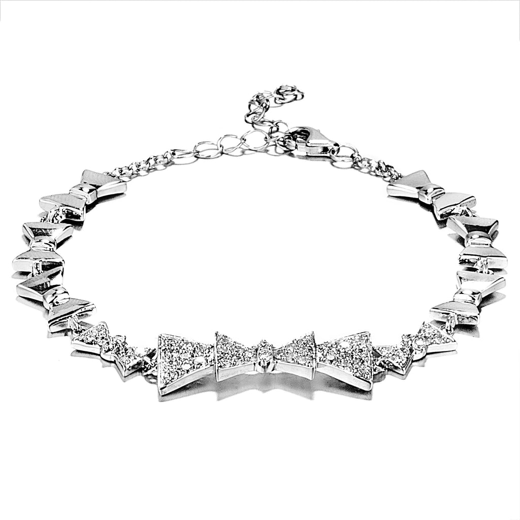 Fancy Bow Chain Bracelet with Clear Crystal in Sterling Silver
