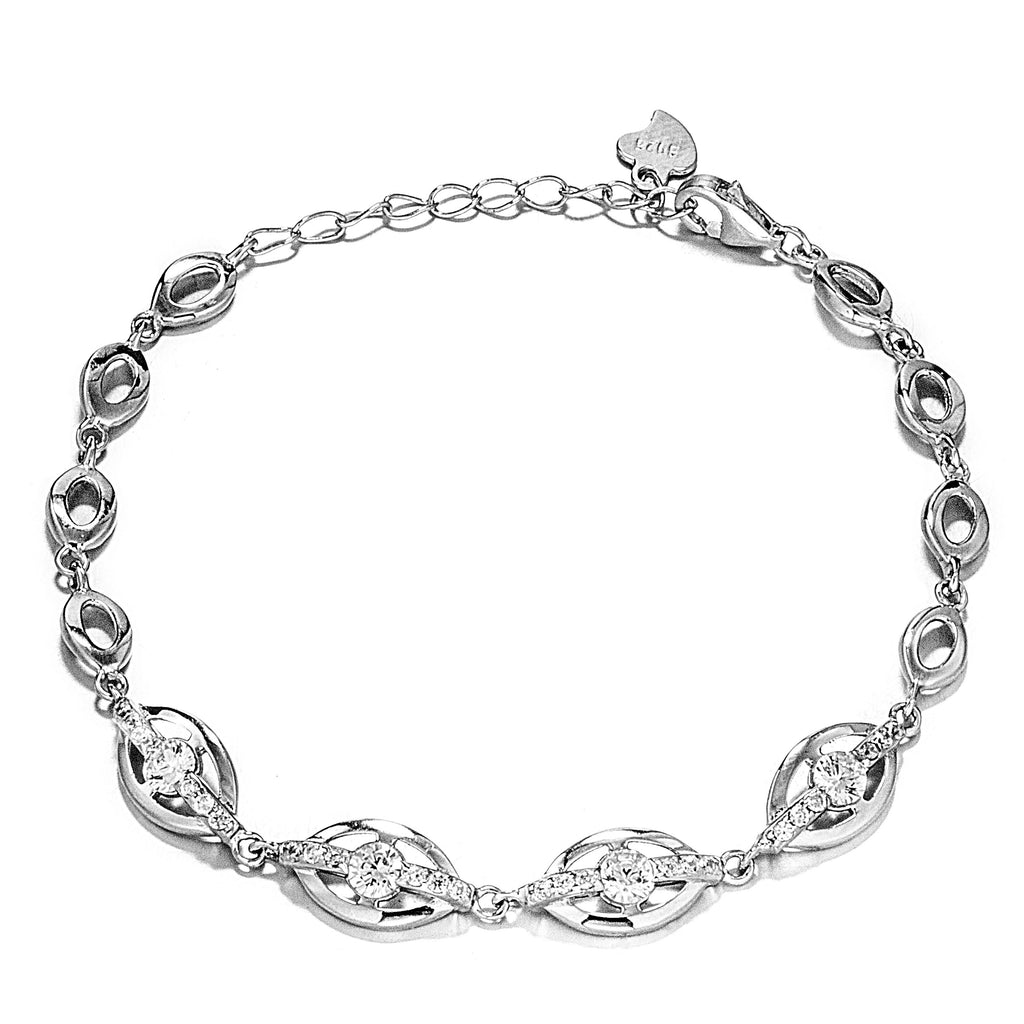 Classical Sparkling Clear Crystal Bracelet in Sterling Silver