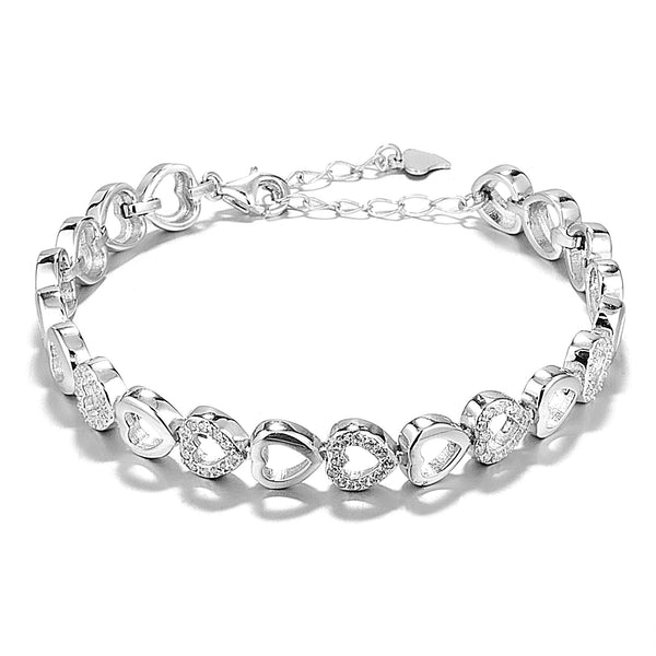 Love Heart Chain Bracelet with Sparkling Clear Crystal In Sterling Silver