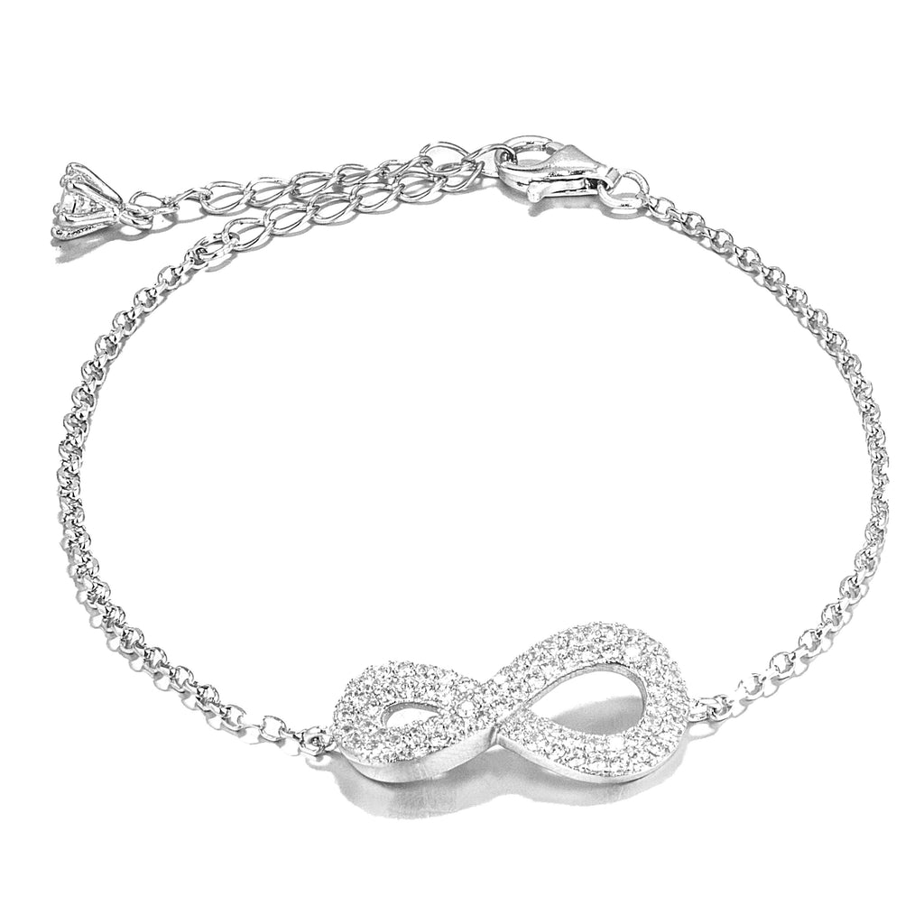 Fancy Infinity Bracelet with Clear Crystal in Sterling Silver