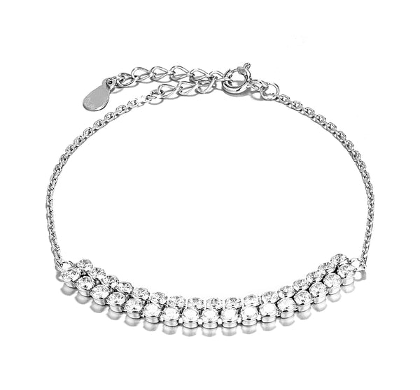 Classical Sparking Clear Crystal Bracelet in Sterling Silver
