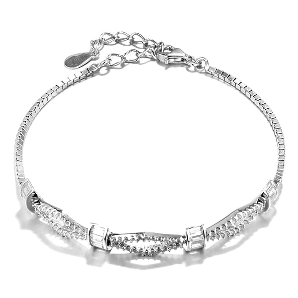 Unique Knot Bracelet with Clear Crystal in Sterling Silver