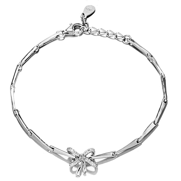 Classical Fashion Bow with Clear Crystal In Sterling Silver