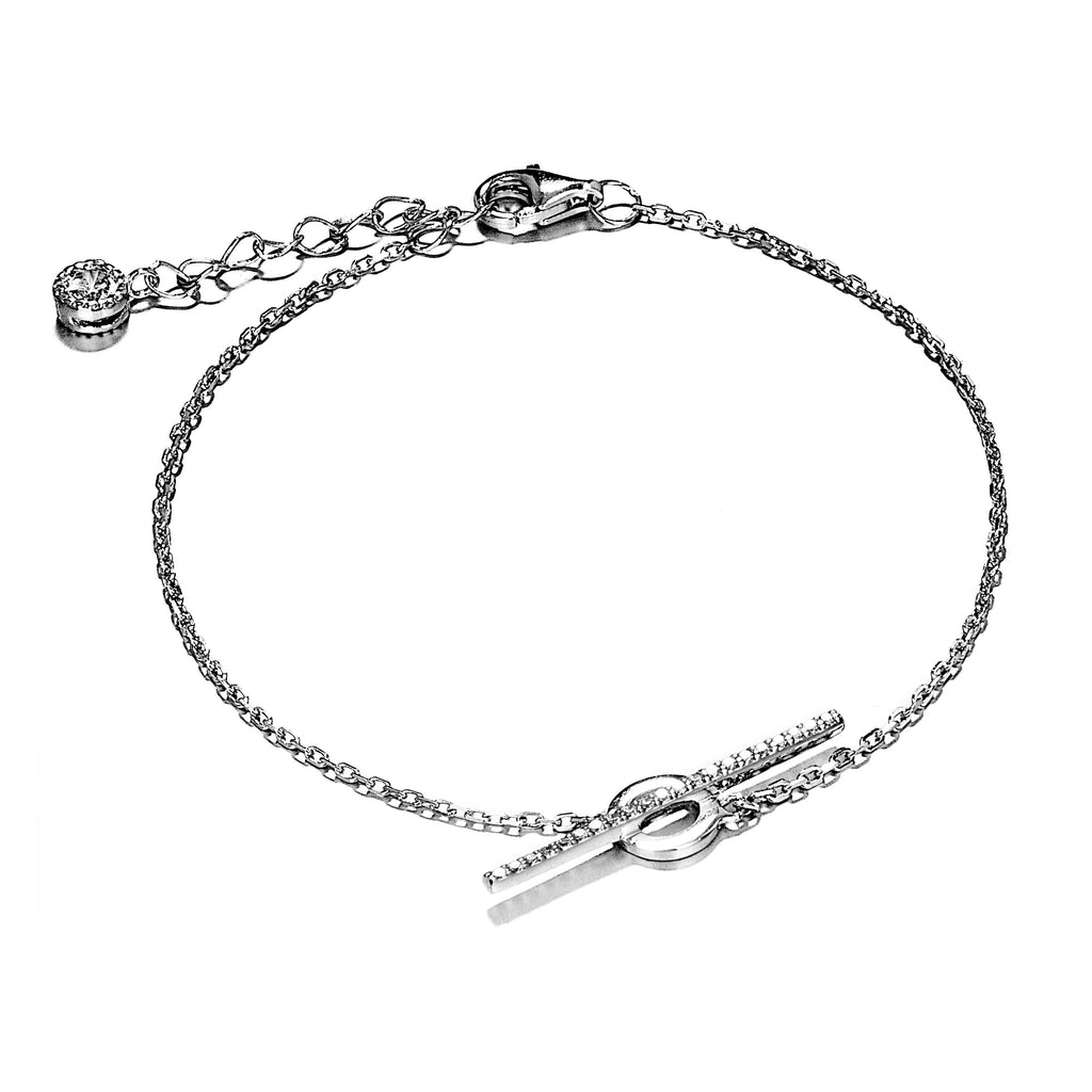 Unique Balance Beam Bracelet with Clear Crystal in Sterling Silver