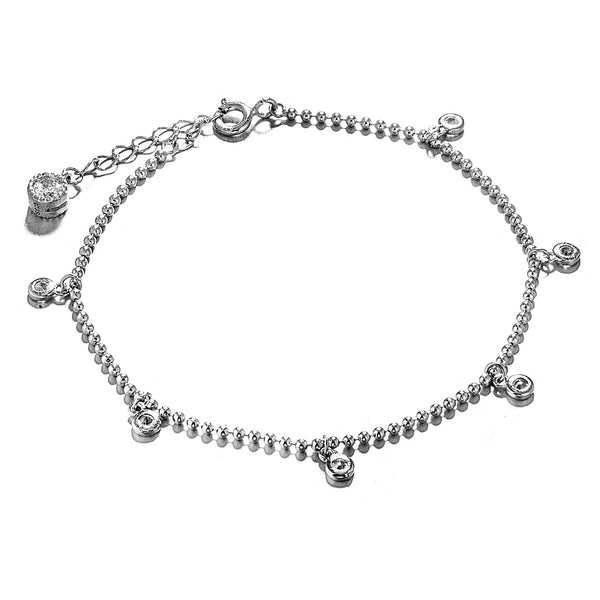 Delicate Rain Drops Lighting Beads Bracelet in Sterling Silver