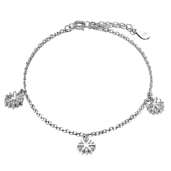Magic Snowflakes with Clear Crystal in Sterling Silver