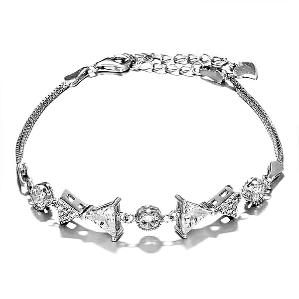 Sparking Pave Bow Bracelet with Clear Crystal in Sterling Silver