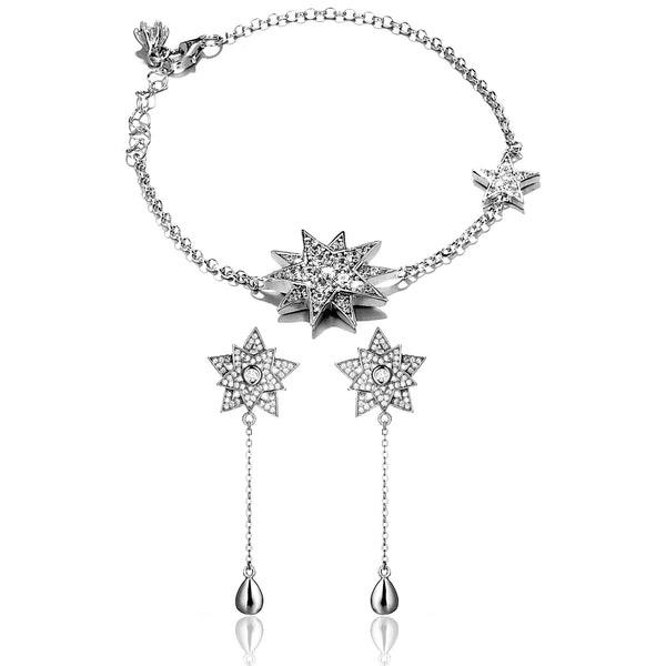Bracelet & Earrings Set with Clear Double Stars in Sterling Silver