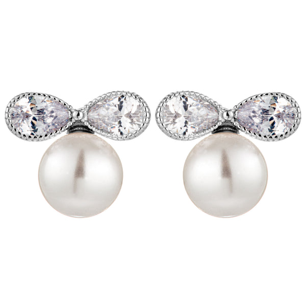 Fresh Water Pearl Stud Earrings with Clear Crystal Bow in Sterling Silver