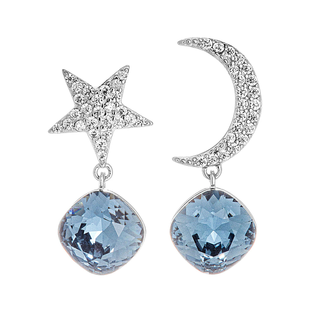 Star & Moon Drop Earrings with Dark Blue Crystal in Sterling Silver