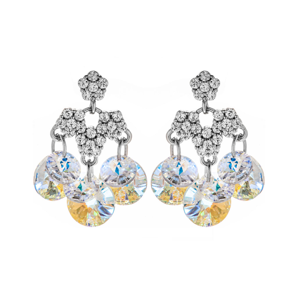 Chandelier Drop Sterling Silver Earrings with Clear Crystal