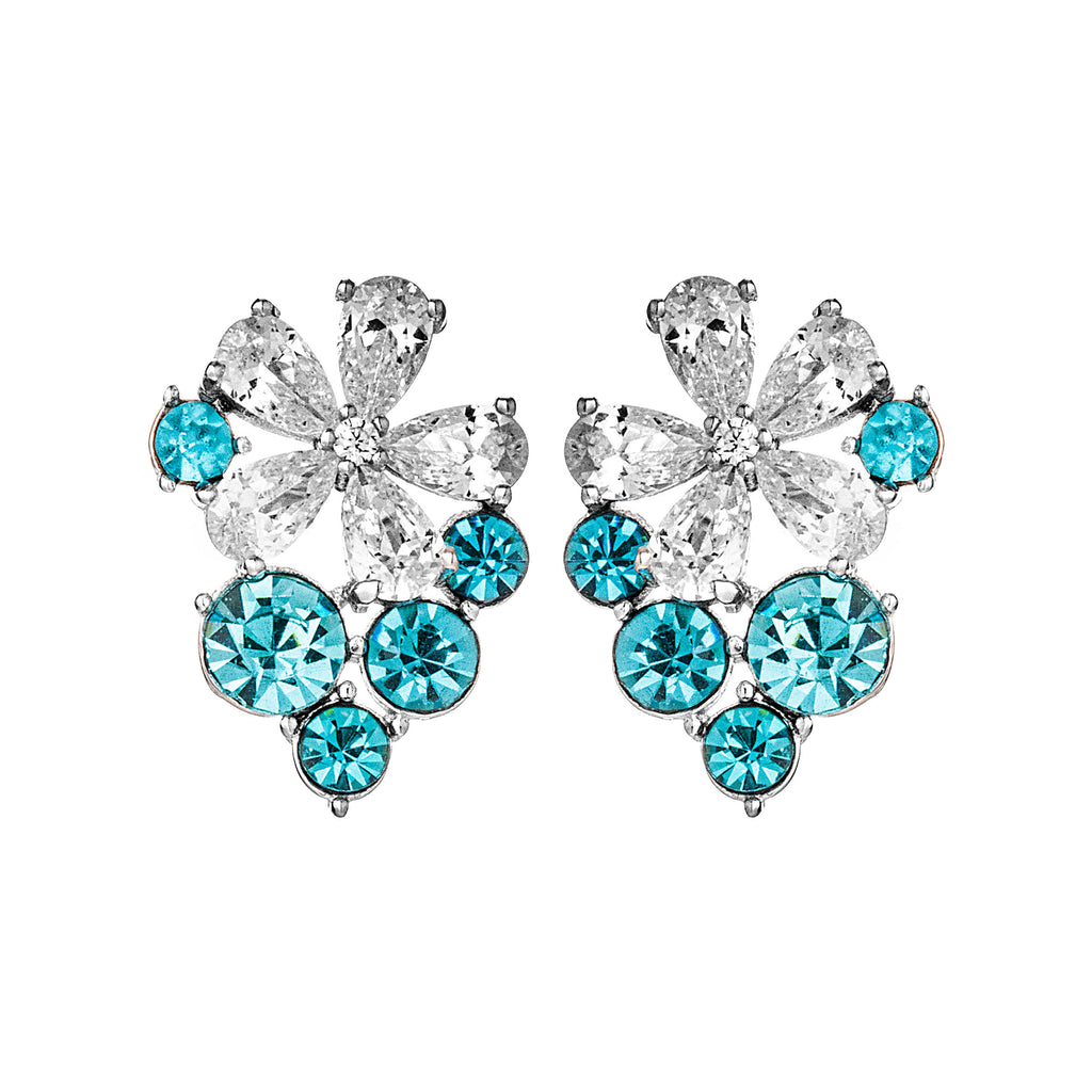 Grape Shaped Flower Stud Earrings with Aqua Blue & Clear Crystal in Sterling Silver