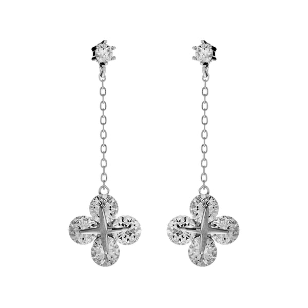 Sparkle Dazzling Lucky Clover Crystal Drop Earrings in Sterling Silver