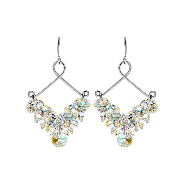Sparkling Chandelier Diamond Hollow Out Crystal Earrings in Sterling Silver