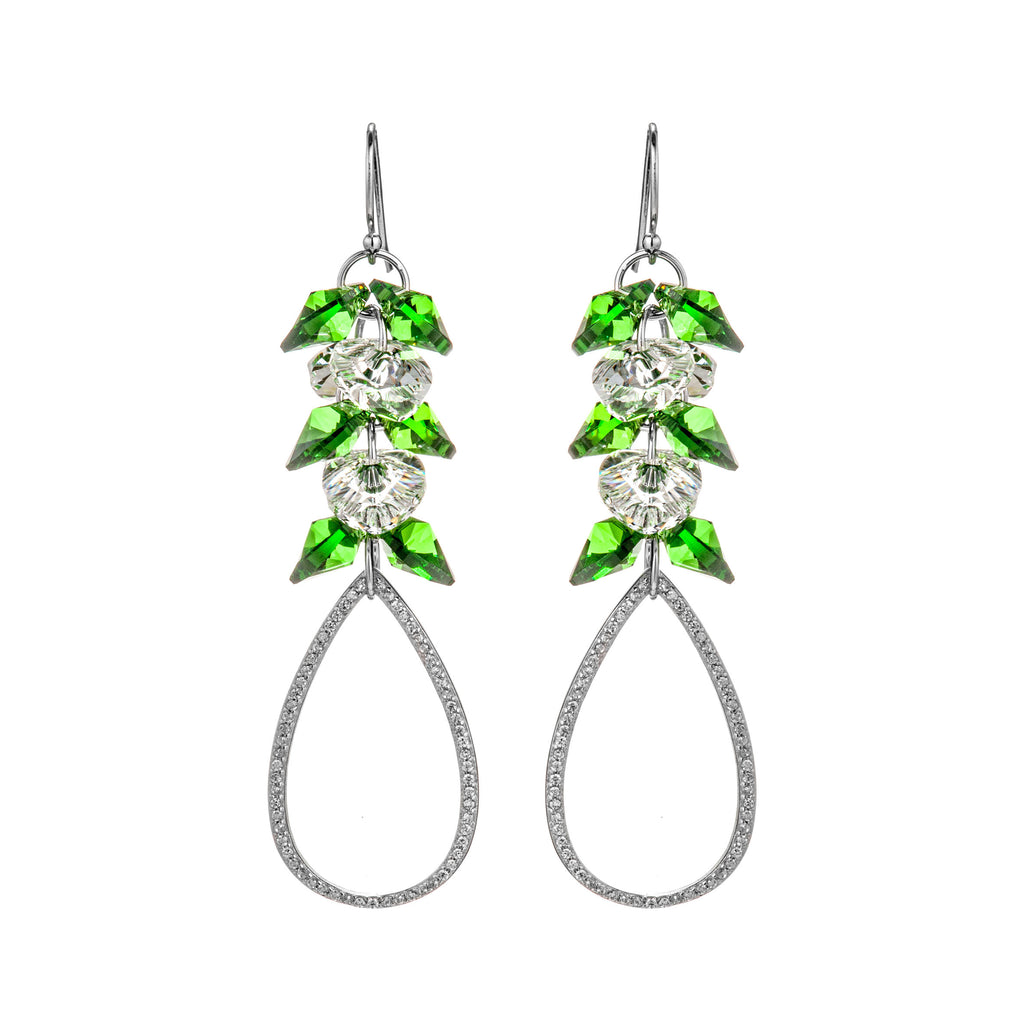 Gorgeous Dazzling Heart Shaped Crystal Tear Drop Earrings in Sterling Silver