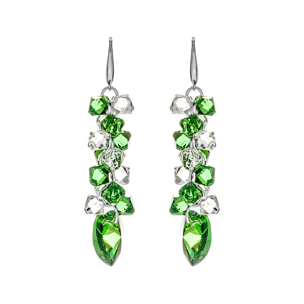 Dazzling Heart Tassel Drop Earrings with Clear & Green Crystal in Sterling Silver
