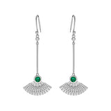 Fanshaped Drop Earrings with Green Crystal in Sterling Silver