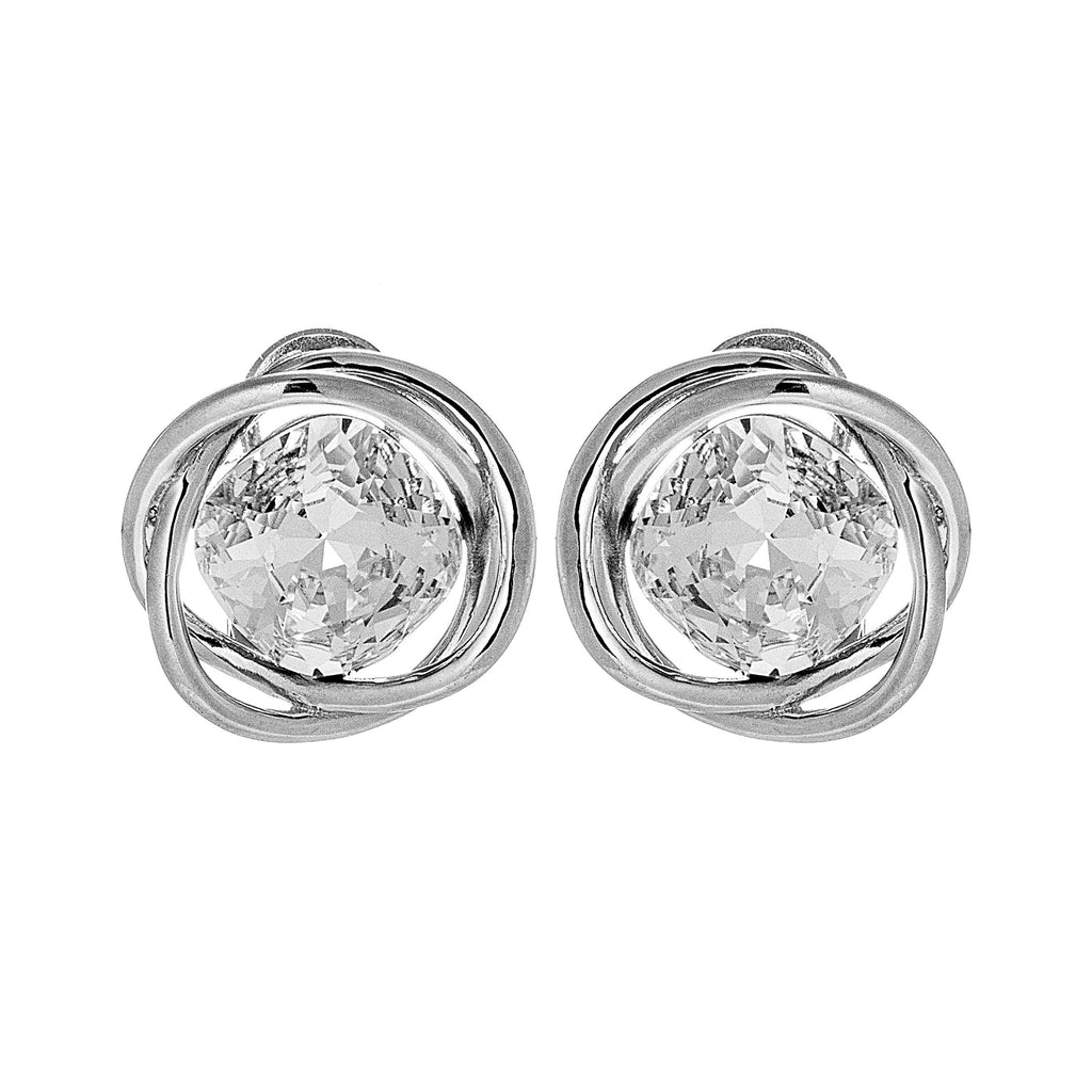 Sparkling Circle Twist Square Cut Crystal in Sterling Silver