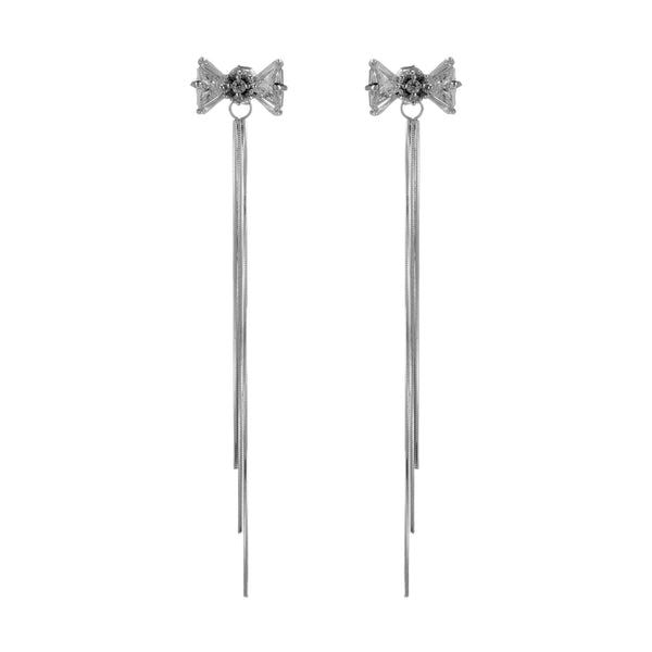 Bow Knot with Pistil Sterling Silver Drop Earrings With Clear Crystal