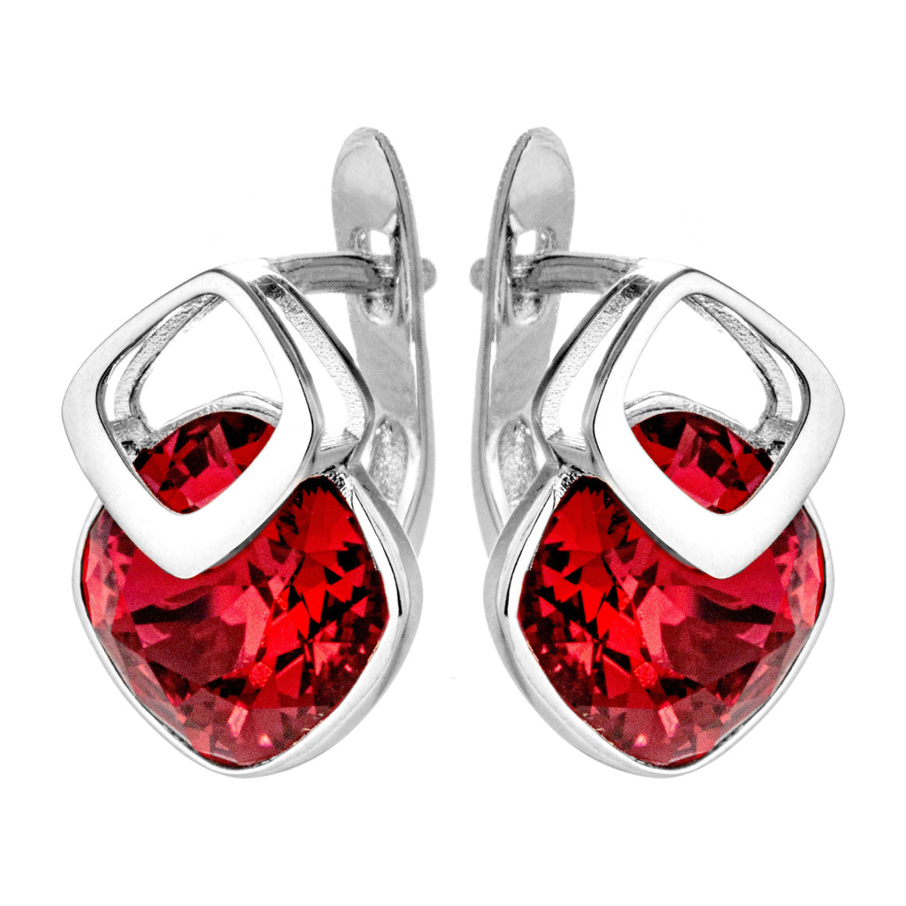 Ruby Red Crystal Stud Earrings with French Back in Sterling Silver
