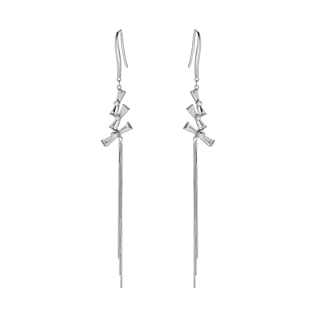 Triple Tangled Bow Knot Drop Earrings with Mother of Pearl & Crystal in Sterling SIlver
