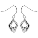 Double Diamond Shaped Square Dangle Earrings with Clear Crystal in Sterling Silver