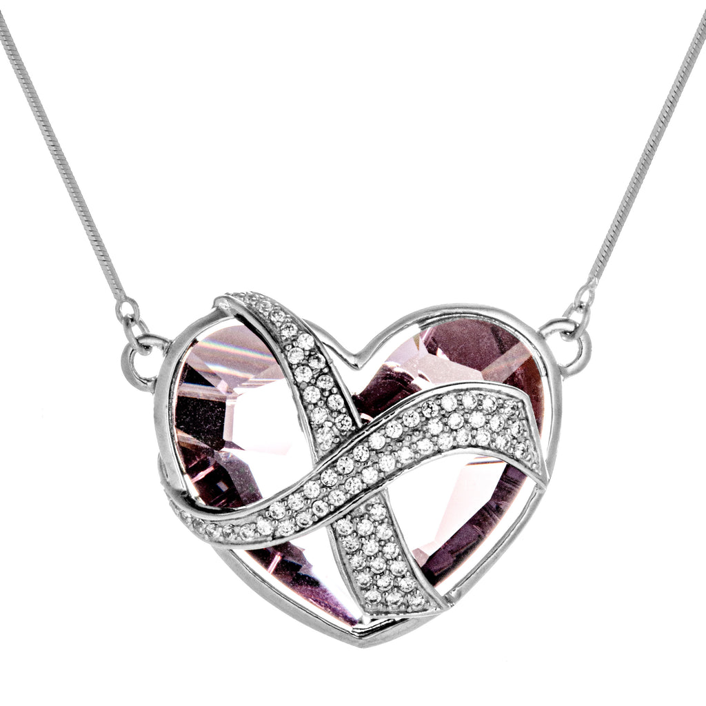 Infinity Love Heart Necklace with Pink Crystal in Sterling Silver