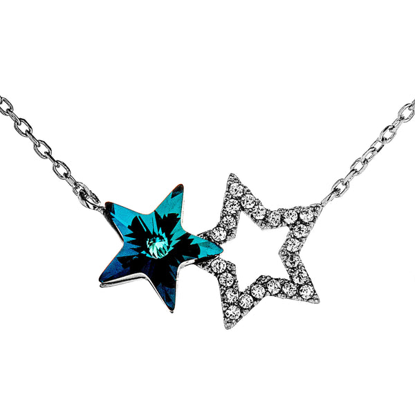 Best Friend Gift, Lucky double Stars Hollow Necklace with Dazzling Blue CRYSTAL in Sterling Silver