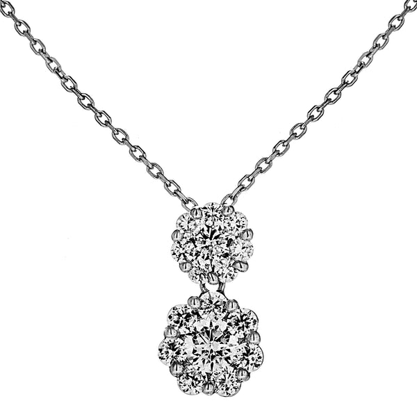 Classical Bridal Falower Clear CRYSTAL Necklace in Sterling Silver