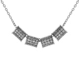 Chunky Linked Crystal Cylinder Necklace in Sterling Silver